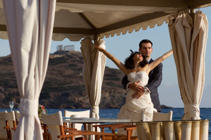 Wedding under the spectacular Temple of Poseidon at Cape Sounion